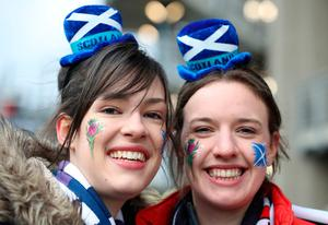 Scotland fans Shannon Jeffrey and Eilidh Thompson from Banff before the RBS 6 Nations match at BT Murrayfield Stadium, Edinburgh. PRESS ASSOCIATION Photo. Picture date: Saturday February 4, 2017. See PA story RUGBYU Scotland. Photo credit should read: Owen Humphreys/PA Wire. RESTRICTIONS: Editorial use only, No commercial use without prior permission.