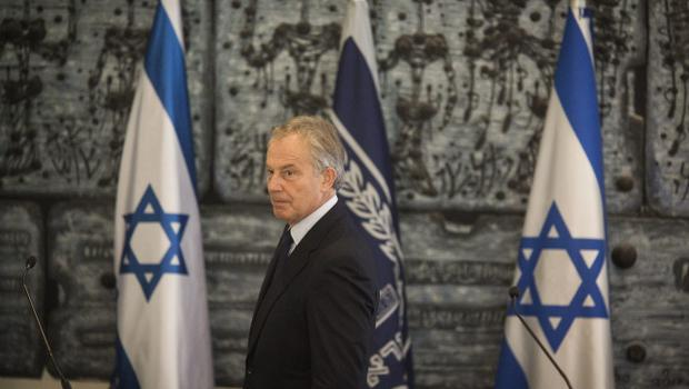 JERUSALEM, ISRAEL - JULY 15:  International Quartet Special Envoy Tony Blair seen during a press conference with Isreali President Shimon Peres on July 15, 2014 in Jerusalem, Israel. . As operation 'Protective Edge' enters it's eighth day of airstrikes by the Israel Defense Forces (IDF) across the Gaza Strip, Egypt has this morning tabled a ceasefire agreement proposing a halting of fighting starting at 9am. Once violence has ceased, the proposal calls for Israel to open a border crossing into Gaza to allow the movement of goods and people. Israel has accepted the Egyptian proposal for a truce, however it is thought Hamas has rejected the deal.  (Photo by Ilia Yefimovich/Getty Images)