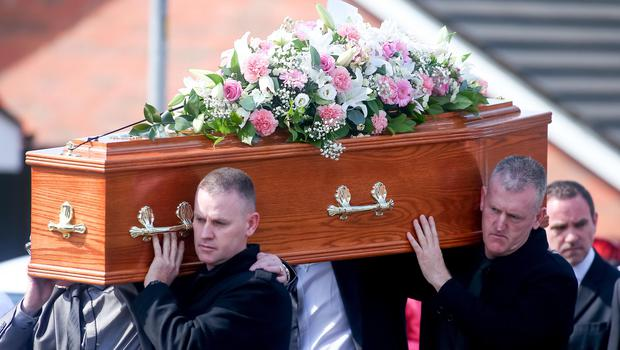 Pictured is the funeral of Jennifer Dornan as it makes its way from Wolfhill Link in Belfast to the Christ of the Redeemer church in Lagmore. Photo: Kevin Scott / Belfast Telegraph