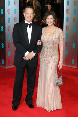 LONDON, ENGLAND - FEBRUARY 16: Tom Hanks and Rita Wilson attend the EE British Academy Film Awards 2014 at The Royal Opera House on February 16, 2014 in London, England.  (Photo by Chris Jackson/Getty Images)
