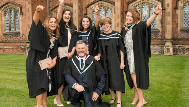 Pictutured celebrating graduation success today at Queen's University Belfast are (L-R) Kiara McCarroll, Sinead Donaghy, Julie Casement, Phil Robinson, Sophie Mitchell and Amy McCubbin, who graduated from the School of Social Sciences, Education and Social Work at Queen's University Belfast.