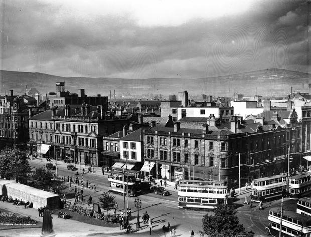 Donegall Square North from the roof of the City Hall. Air raid shelters in City Hall grounds. Belfast  15/9/1942 BELFAST TELEGRAPH COLLECTION/NMNI