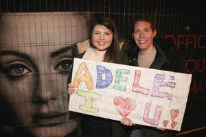 Adele fans at the SSE Arena Belfast for the Brit Awards winner first night of her new tour.  Megan and Caroline Wright. Picture Colm O'Reilly /Presseye
