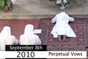 Sister Clare taking her perpetual vows in 2010
