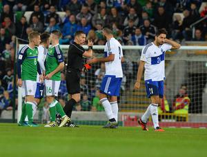 PACEMAKER BELFAST   08/10/2016 Northern Ireland v San Marino World Cup Qualifier Group C San Marinos Mirko Paiazzi is sent off  during this evenings game at the National Stadium in Belfast. Photo Colm Lenaghan/Pacemaker Press