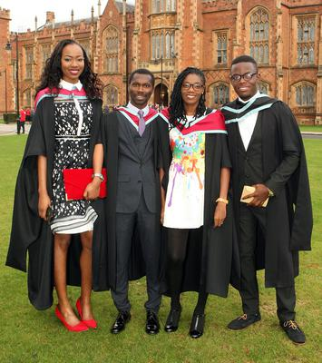 Mandatory Credit - Picture by Freddie Parkinson/Press Eye © Thursday 8th December 2016 Graduations take place at Queens University in Belfast. Esesua Pigoson, Sater Iayuse, Stzphanle Gbeddy and Collins Amoah-Antwi from Kenya