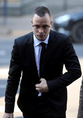 Oscar Pistorius arrives at the high court in Pretoria, South Africa, Monday, May 5