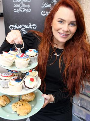 Mandatory Credit - Picture by Freddie Parkinson/Press Eye © Saturday 19 May 2018 The Little Beauty Lounge, Crumlin Road, Belfast  Jade Hamill handing out the Tea Cakes for the Wedding Party.