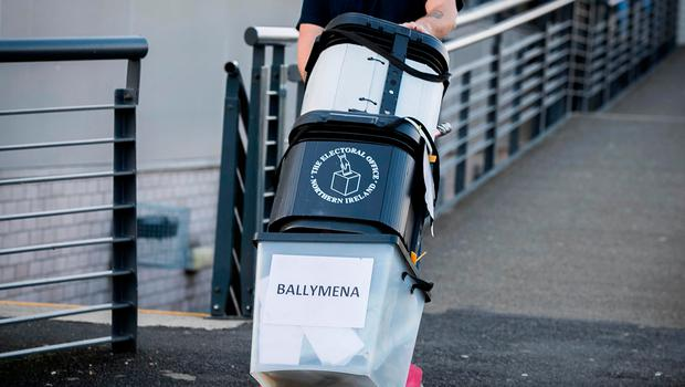Petition boxes in Ballymena on Wednesday
