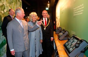 The Prince of Wales and Duchess of Cornwall during a tour of the new centre in Bellaghy, dedicated to poet Seamus Heaney during their visit to Northern Ireland.  Liam McBurney/PA Wire