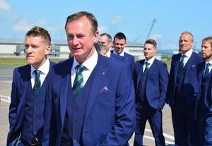 Members of the Northern Ireland football squad join Manager Michael OÕNeill and Captain Steve Davis as they leave Northern Ireland from George Best Belfast City Airport to take part in a training camp in Austria before the 2016 Euros. Picture By: Arthur Allison. Pacemaker Press Belfast: Monday 30th May 2016: