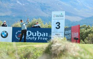 NEWCASTLE, NORTHERN IRELAND - MAY 28:  Gareth Maybin of Northern Ireland tees off on the 3rd hole during the First Round of the Dubai Duty Free Irish Open Hosted by the Rory Foundation at Royal County Down Golf Club on May 28, 2015 in Newcastle, Northern Ireland.  (Photo by Andrew Redington/Getty Images)