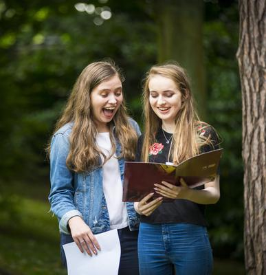 A-Level results day 2016 - Tara Fey and Eve Bannon of Victoria Collage on the 18th August 2016, Belfast , Northern Ireland ( Photo by Kevin Scott / Belfast Telegraph )
