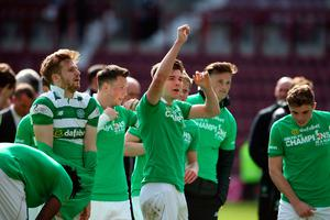 Celtic's Kieran Tierney (centre) and team-mates celebrate winning the league after the Ladbrokes Scottish Premiership match at Tynecastle Stadium, Edinburgh. PRESS ASSOCIATION Photo. Picture date: Sunday April 2, 2017. See PA story SOCCER Hearts. Photo credit should read: Andrew Milligan/PA Wire. EDITORIAL USE ONLY