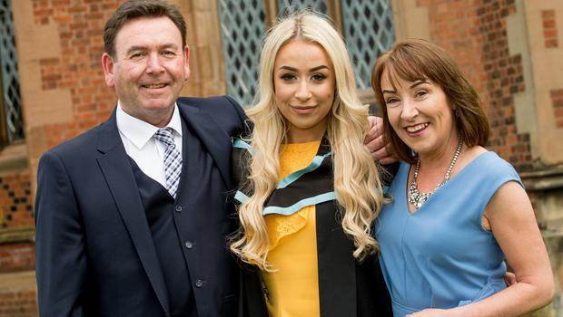 Graduating today from the School of Behavioural Sciences at Queen's University Belfast is Rachael O'Neill, from Strabane. Pictured with parents Michael and Marlene O'Neill.