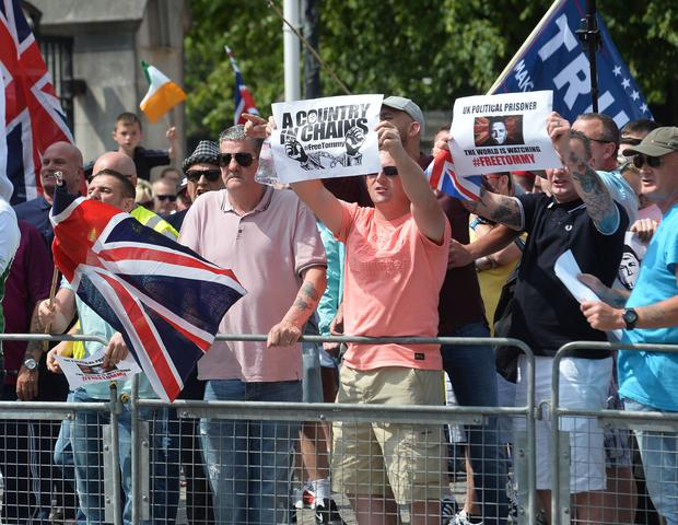 Pacemaker 09/06/2018 A rally at Belfast City hall on Saturday in support of Tommy Robinson, the founder of the far-right English Defence League, who was  jailed for 13 months for contempt of court after broadcasting an hour-long video over Facebook from outside Leeds crown court. Pic Pacemaker