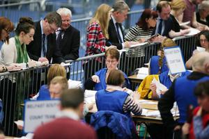 Counting begins at the Titanic Convention centre in east Belfast for the North, East, South West constituencies. Press Eye - Belfast - Northern Ireland - 6th May 2016 Picture by Jonathan Porter/PressEye