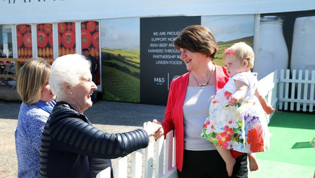 Press Eye - Belfast - Northern Ireland - 17th May 2018    DUP leader Arlene Foster pictured at the Balmoral Show event this afternoon. Second day of the 2018 Balmoral Show, in partnership with Ulster Bank, at Balmoral Park.  Horse showing as the 150th anniversary Balmoral Show continues.    Photo by Kelvin Boyes / Press Eye