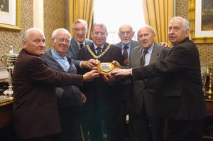 PACEMAKER PRESS INTERNATIONAL BELFAST 28/6/2006 The surviving members of the Belfast Celtic side who were invited for the first time ever to Belfast City Hall for a civic reception with the Lord Mayor Cllr Pat McCarthy, pictured are (left to right) Gerry Burrell, Jackie Denver, Sam Gillispie, Ossie Bailie, Jimmy Jones and Jimmy Donnelly.