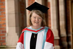 Professor Mary Daly, the first female President of The Royal Irish Academy, received her honorary degree from Queen's University Belfast for distinction in humanities.