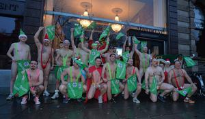 Colin Murray and the gang during the Belfast mankini run. Picture By: Arthur Allison/ Pacemaker.