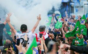 GAWA fans enjoying the excitment at the Fan Zone Titanic, Belfast. Picture by Freddie Parkinson/Press Eye ©
