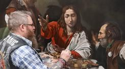 Finishing touches in 2019: Paul touches up his rendering of Caravaggio's masterpiece