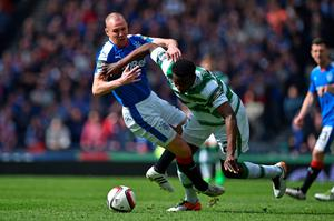 GLASGOW, SCOTLAND - APRIL 17:   Kenny Miller of Rangers holds off the challenge of  Dedryck Boyata of Celtic during the William Hill Scottish Cup semi final between Rangers and Celtic at Hampden Park on April 17, 2016 in Glasgow, Scotland.  (Photo by Jeff J Mitchell/Getty Images)