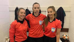 Referee Louise Thompson (centre), who became the first female to officiate at the Intermediate Cup final on Thursday night, aided by assistants Rachel Greer (left) and Victoria Finlay.