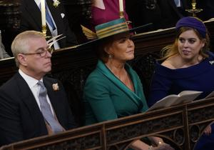 The Duke of York, Sarah, Duchess of York and Princess Beatrice at the wedding of Princess Eugenie to Jack Brooksbank at St George's Chapel in Windsor Castle (Danny Lawson/PA)