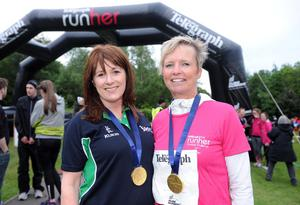 Belfast Telegraph Runher - Seapark to Crawfordsburn - 23rd May 2014 Presseye / Declan Roughan  Antoinette McKeown, Sport NI with Judith Gillespie after finishing the Runher