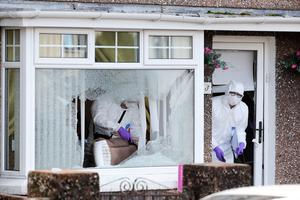 Police at the scene of a shooting at a house in the Bushmills Road area of Coleraine.