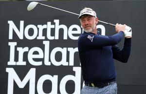Press Eye - Belfast - Northern Ireland - 27th May 2015? Dubai Duty Free Irish Open at Royal County Down Pro-Am Day Darren Clarke on the1st tee, Picture by Kelvin Boyes / Press Eye?