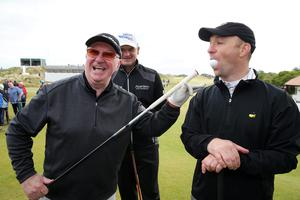 Press Eye - Belfast - Northern Ireland - 27th May 2015? Dubai Duty Free Irish Open at Royal County Down Pro-Am Day Former snooker player Dennis Taylor, left, with Paul Lawrie, centre, and Brendan Taylor. Picture by Kelvin Boyes / Press Eye?