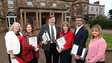 Michele Shirlow, Food NI with judges Georgina Campbell, Charles Campion, Professor Una McMahon-Beattie and Joris Minne, and Susie Brown from Tourism NI.