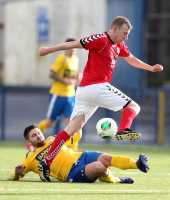 Action from the  Coca-Cola Intermediate Cup clash between Bangor FC v Larne FC at Clandeboye Park