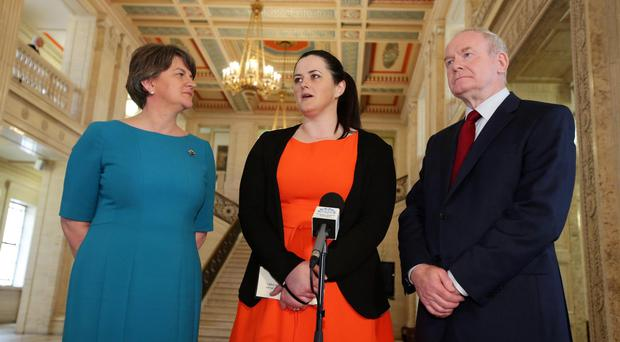 Press Eye - Belfast - Northern Ireland - 25th May 2016 - First Minister Arlene Foster and deputy First Minister Martin McGuinness with new Justice Minister Claire Sugden at Parliament Buildings, Stormont. Photo by Kelvin Boyes / Press Eye.