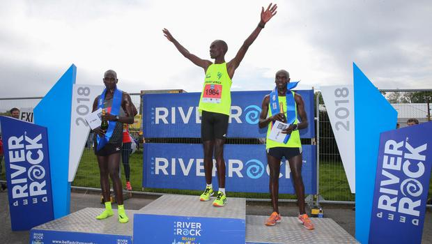 Eric Koech, Dan Tanui, and Joel Kositany pictured at the marathon. Picture: Philip Magowan / PressEye