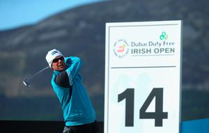 NEWCASTLE, NORTHERN IRELAND - MAY 29:  Mikko Ilonen of Finland tees off on the 14th hole during the Second Round of the Dubai Duty Free Irish Open Hosted by the Rory Foundation at Royal County Down Golf Club on May 29, 2015 in Newcastle, Northern Ireland.  (Photo by Andrew Redington/Getty Images)