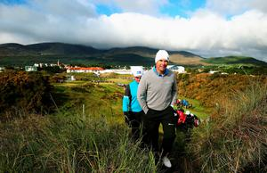 Ireland's Padraig Harrington (right) and Finland's Mikko Ilonen make their way to the 12th tee box during day two of the Dubai Duty Free Irish Open at Royal County Down Golf Club, Newcastle. PRESS ASSOCIATION Photo. Picture date: Friday May 29, 2015. See PA story GOLF Irish. Photo credit should read: Brian Lawless/PA Wire. RESTRICTIONS: Editorial use only. No commercial use. No false commercial association. No video emulation. No manipulation of images.