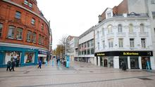 An empty Cornmarket in Belfast City Centre