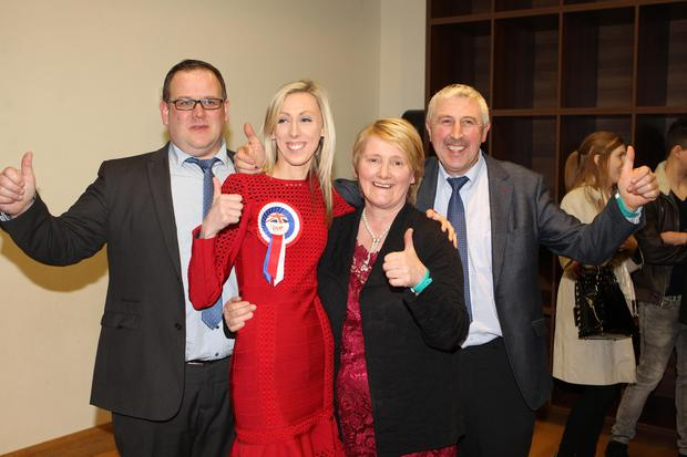 Carla Lockhart elected for Upper Bann, pictured with her husband Rodney Condell and mother and father Valerie and kenneth Lockhart. Picture Matt Bohill pacemaker
