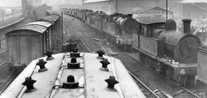 Steam locomotives, carriages and waggons at the Co. Down Yard, Station Street, Belfast.  4/1/1956