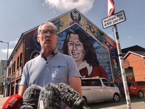 Sinn Fein MLA Gerry Kelly at the party's Falls Road office in Belfast, reacting to Government guidance on administering victims' compensation payments. PA Photo. David Young/PA Wire