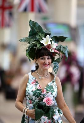 Beverley Midgley-McDonald arrives during day three of the Royal Ascot meeting at Ascot Racecourse, Berkshire. PRESS ASSOCIATION Photo. Picture date: Thursday June 20, 2013. See PA story RACING Ascot. Photo credit should read: John Walton/PA Wire