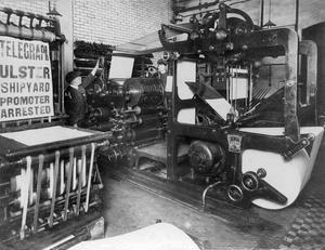 Belfast Telegraph. Old Pictures. One of the bill printing machines.