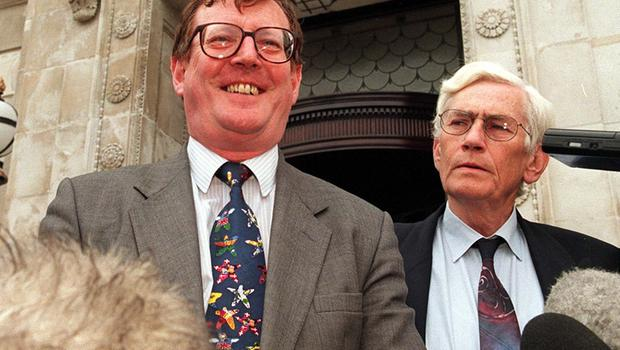 PACEMAKER BELFAST 07/07/98 Northern Ireland's first and second ministers David Trimble and Seamus Mallon pictured at at Stormont Press conference this morning where they both said that progress had been made in the behind the scenes negotiations over the Drumcree Stand-off but also said that there was still a long way to go and both sides should be prepared to give a little.