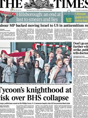 A later edition of the Times acknowledged the Hillsborough verdicts.