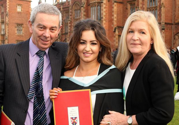 Mandatory Credit - Picture by Freddie Parkinson/Press Eye © Thursday 8th December 2016 Graduations take place at Queens University in Belfast. Danielle McGurk and her parents Aidan and Marie from Craigavon