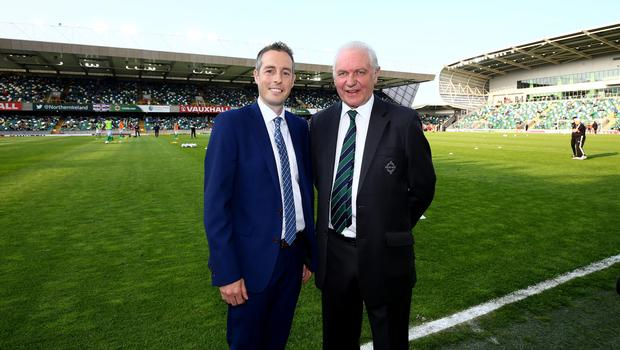 Press Eye - Belfast -  Northern Ireland - 27th May 2016 - Photo by William Cherry  Sports Minister Paul Givan MLA pictured at the National Stadium, Windsor Park with Northern Ireland President Jim Shaw. The Minister wished the Northern Ireland team every success as they continue their preparations for the European Championship Finals in France.